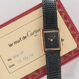 """Cartier 18kt Gold """"Must de"""" Wristwatch with Box and Card"""