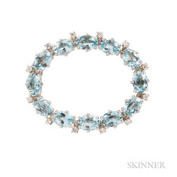 14kt White Gold, Aquamarine, and Diamond Wreath Brooch, Tiffany & Co.