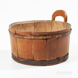 Small Orange-painted Wooden Tub
