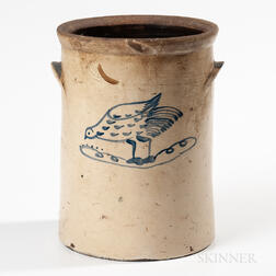 Cobalt-decorated Stoneware Crock