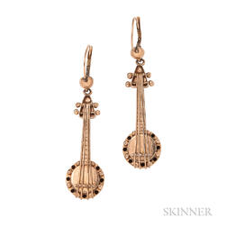 "Whimsical Gold ""Banjo"" Earrings"