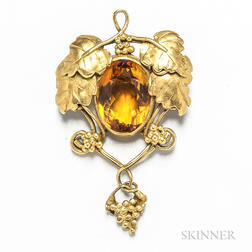 14kt Gold and Citrine Foliate Brooch