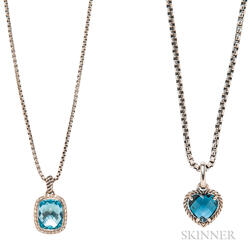 Two Sterling Silver and Blue Topaz Pendant Necklaces, David Yurman