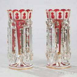 Pair of Continental Cranberry Overlay Glass Girandoles