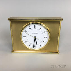 Tiffany & Co. Brass and Glass Desk Clock