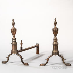 Pair of Federal Bell Metal and Iron Andirons