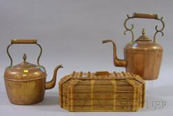 Two Brass-mounted Copper Hot Water Kettles and a Tramp Art Lidded Box Made of Wooden   Popcicle Sticks
