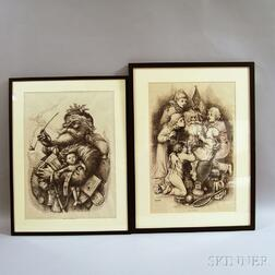 Pair of Framed Thomas Nast for Harper's Weekly   Christmas-themed Prints