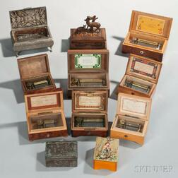 Eleven Small Swiss Musical Boxes