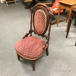 Rococo Revival Carved and Upholstered Walnut Side Chair
