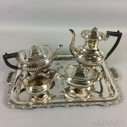 English Silver-plated Four-piece Tea Service with Tray
