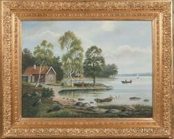 American School, 19th Century      Lake View in the Hudson River School Style.