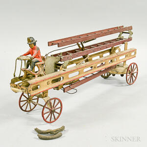 Painted Tin and Wood Ladder Truck