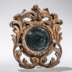 Continental Baroque-style Carved Giltwood Mirror