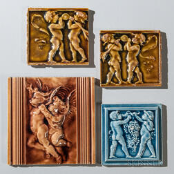 Four Low Art Tile Works Art Pottery Tiles of Putti and Cherubs