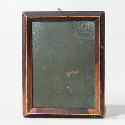Small Red-stained Mirror with Peak-molded Frame