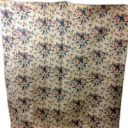 Chintz Printed Cotton Quilt and Braided Floral Mat.     Estimate $100-150