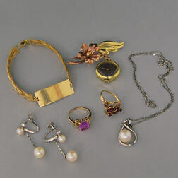 Small Group of Gold and Cultured Pearl Jewelry