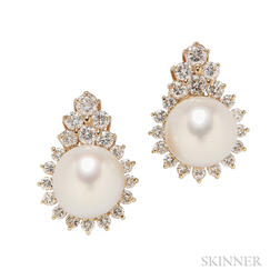 14kt Gold, South Sea Pearl, and Diamond Earrings