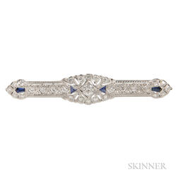 Art Deco Platinum, Diamond, and Sapphire Bar Pin