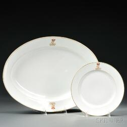 Russian Imperial Porcelain Factory Platter and Plate with Cipher for Tsar Alexander   II,