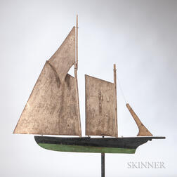 Painted Wood and Tin Model of Sloop