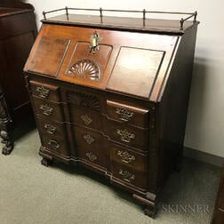 Chippendale-style Mahogany Block-front Slant-lid Desk