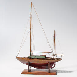 Small Painted Wooden Yacht Model on Stand
