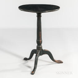 Green-painted Circular-top Candlestand