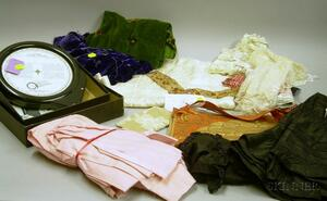 Lot of Antique Collars and Assorted Textile Fragments