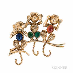 "Van Cleef & Arpels 18kt Gold Gem-set ""Three Wise Monkeys"" Brooch"