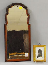 Miniature Giltwood Framed Hollow-cut Silhouette of a Gentleman and Small Queen Anne   Walnut Veneer Looking Glass