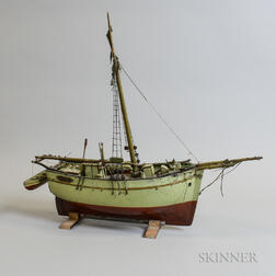 Primitive Carved and Painted Wood Ship Model of the Jenny