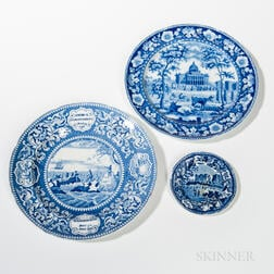 Three Staffordshire Historical Blue Transfer-decorated Plates