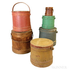 Six Pine Stave-constructed Buckets