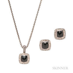Sterling Silver, Onyx, and Diamond Pendant Necklace and Earrings, David Yurman
