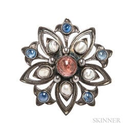 Arts and Crafts Silver Gem-set Brooch