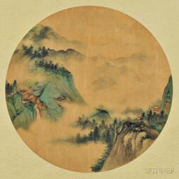 Round Fan Painting of a Landscape