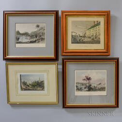 Eight Framed Hand-colored New York Prints