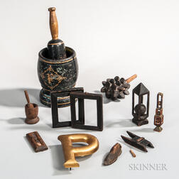 Group of Small Wooden Antique and Decorative Items