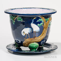 Minton Majolica Jardiniere and Stand