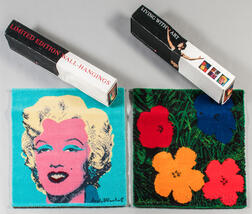 Two Ege Art Wool Rugs After Warhol's Marilyn in Blue   and Flowers in Red/Blue