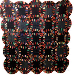 """Amish Pieced Cotton """"Double Wedding Ring"""" Quilt.     Estimate $200-250"""
