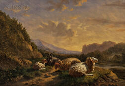 Jacobus Nicolaas (Baron Tjarda van) Starckenborgh (Dutch, 1822-1895)      Sheep in a Rugged Landscape