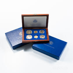 Three 1986 Liberty Commemorative Proof and Uncirculated Six-coin Sets