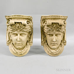 Pair of Classical-style Plaster Wall Brackets