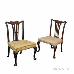Pair of Georgian Carved Walnut Side Chairs