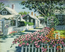 Paul Arsenault (American, 20th Century)    Nantucket Cottages