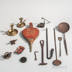 Group of Antique Hearth, Lighting, and Other Metal Objects