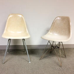 Two Eames for Herman Miller Fiberglass Shell Chairs